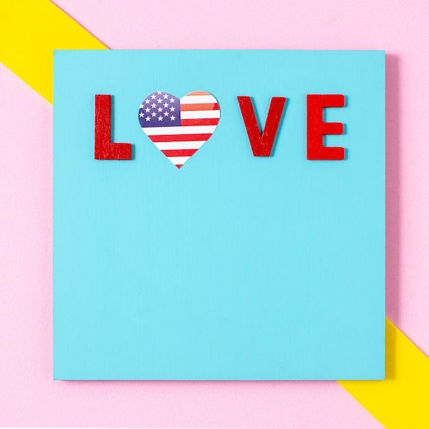 Плоские лежал любовные письма с сердцем флага сша и копией пространства Бесплатные Фотографии