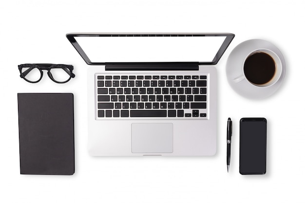 Flat lay of men device accessories in black tone color on office desk table Premium Photo