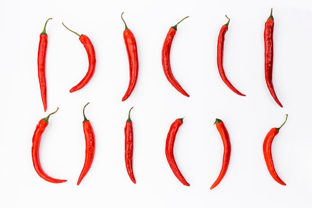 Flat lay mexican food composition with chilis Free Photo