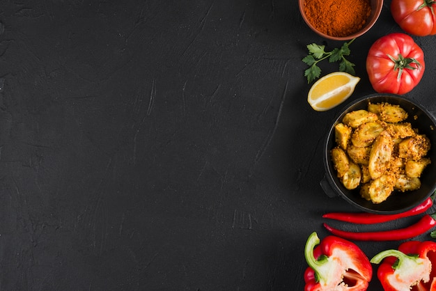 Flat lay mexican food composition with copyspace Free Photo