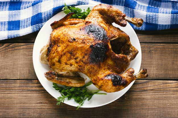 Flat lay mexican roasted chicken Free Photo