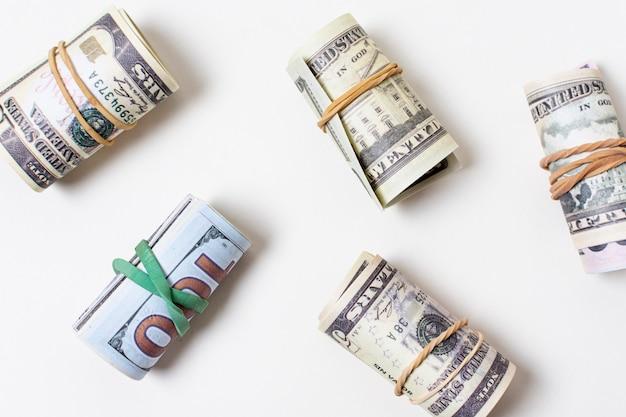Flat lay of money tied with elastics Free Photo