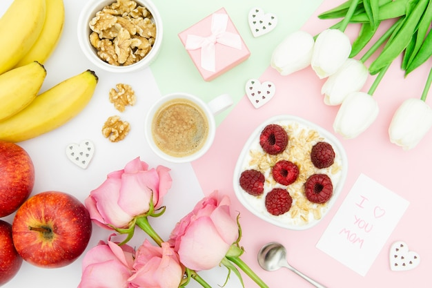 Flat lay of mother's day concept Free Photo