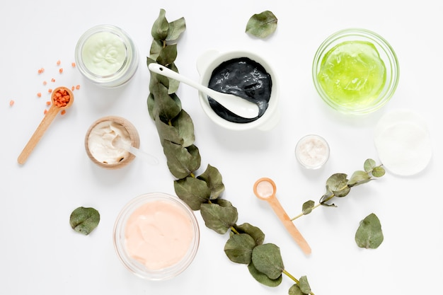 Flat lay of natural cosmetics concept Free Photo