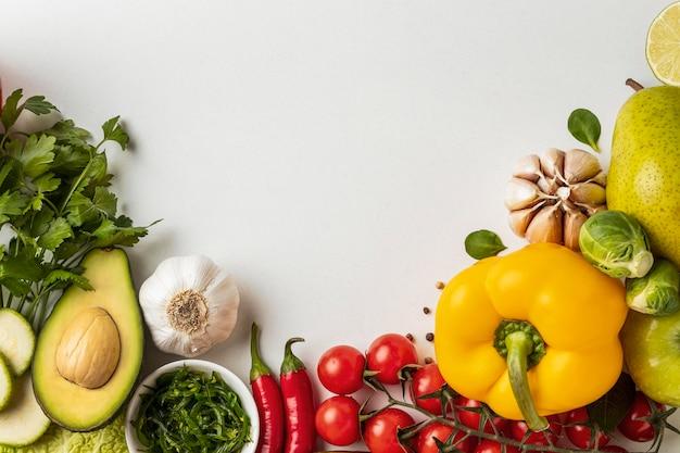Плоская планировка ассортимента овощей с копией пространства Бесплатные Фотографии
