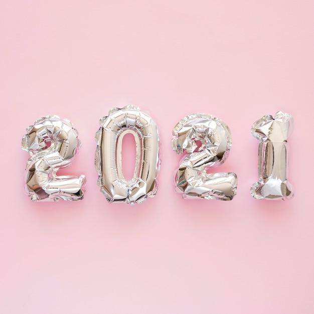 아름 다운 새 해 개념의 평면 배치 무료 사진