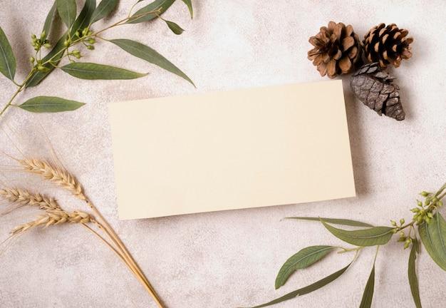 Плоский лист бумаги с сосновыми шишками и осенними листьями Premium Фотографии