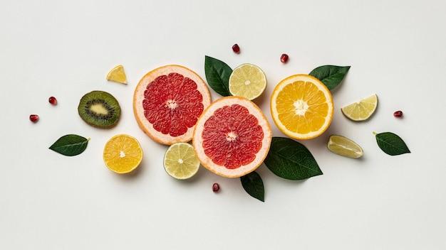 柑橘類のフラットレイ 無料写真