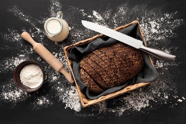 Плоская планировка вкусного хлеба Бесплатные Фотографии