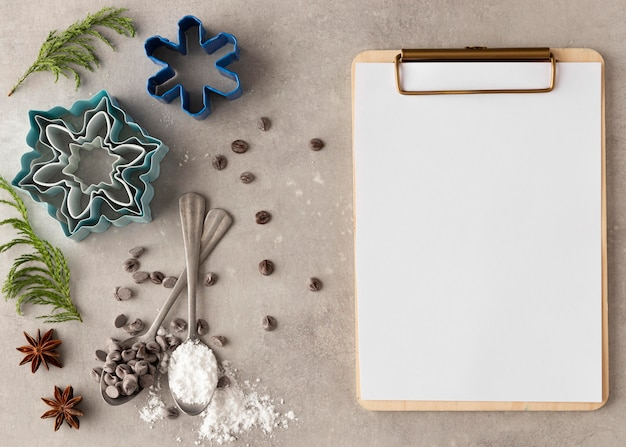 Плоская планировка вкусного печенья с копией пространства Premium Фотографии