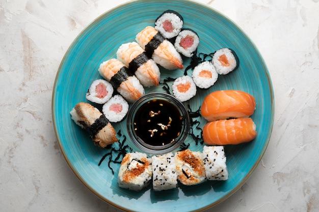 Плоская планировка вкусных суши с копией пространства Бесплатные Фотографии