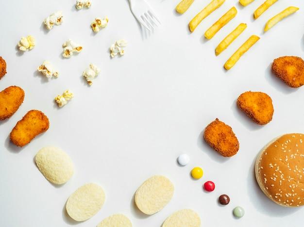 Плоский набор быстрого питания и конфет Бесплатные Фотографии