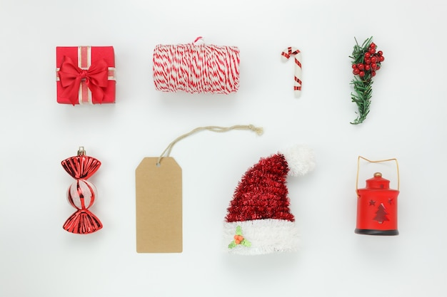 flat lay of items decoration ornament for merry christmas happy new year background concept