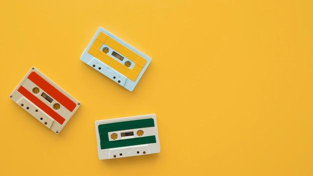 Плоская планировка музыкальной концепции с кассетой Бесплатные Фотографии