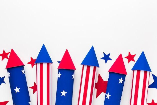 Плоская планировка звезд с фейерверком в день независимости Бесплатные Фотографии
