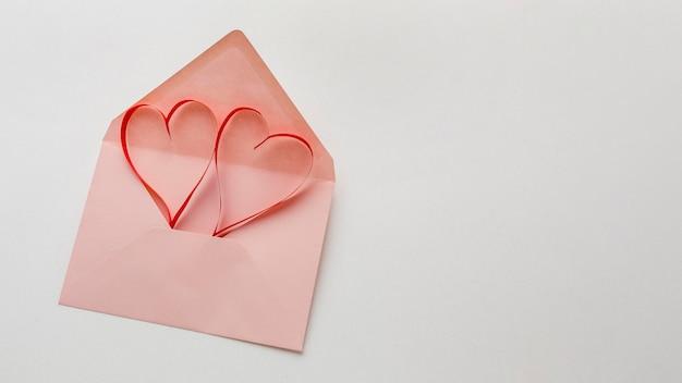 Плоская планировка концепции дня святого валентина с копией пространства Бесплатные Фотографии