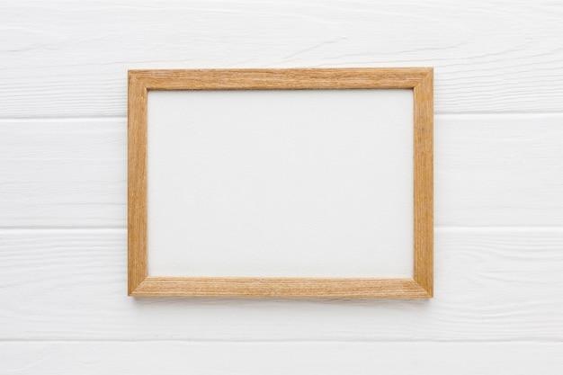 Плоская планировка деревянной рамы с копией пространства Premium Фотографии