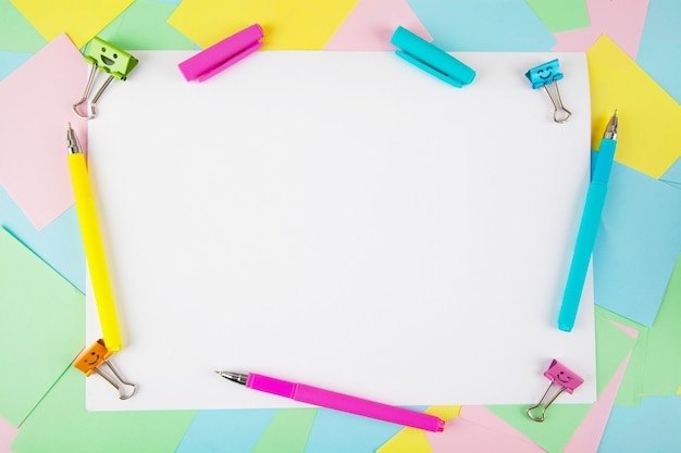Flat lay of office and school stationery supplies. Premium Photo