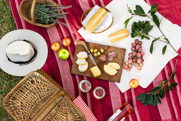 Flat lay picnic arrangement on red blanket Free Photo