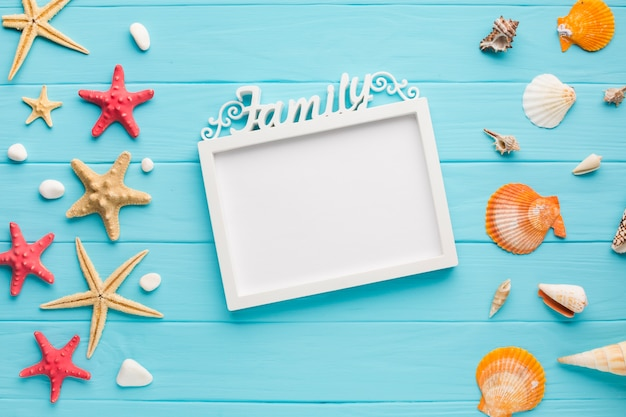 Flat lay picture frame with starfish and seashells Free Photo