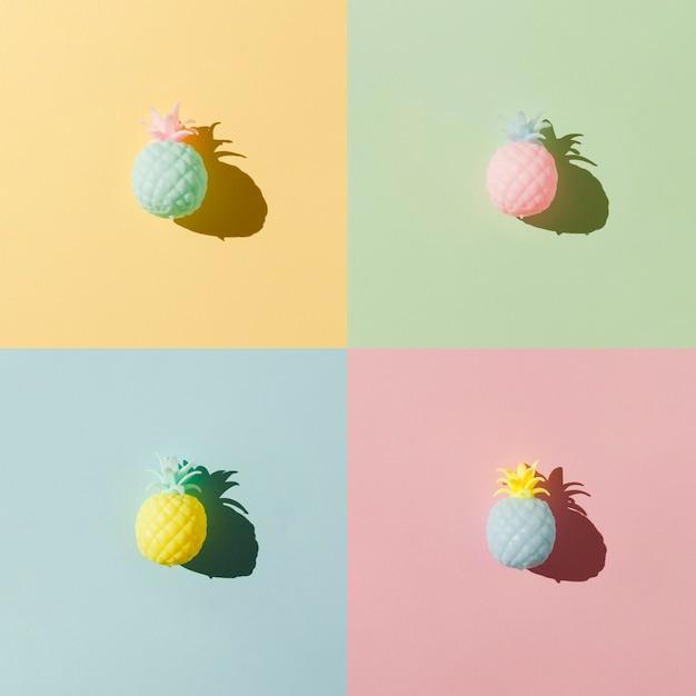 Disposizione piana della frutta dell'ananas di disposizione Foto Gratuite