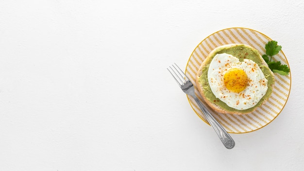 Flat lay pita with avocado and fried egg on plate with copy-space Free Photo