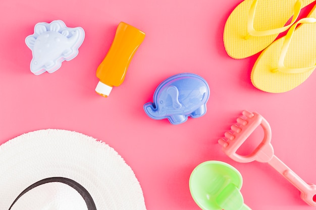 Flat lay of plastic toys and accessories Free Photo