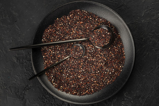 Flat lay of plate with seeds and condiments Free Photo