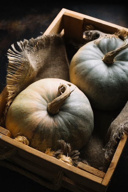Flat lay pumpkins in a basket with burlap fabric Free Photo