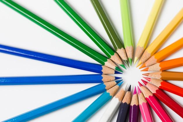 Flat lay rainbow sharpened pencils Free Photo