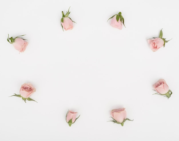 Flat lay rose buds frame and copy space background Free Photo