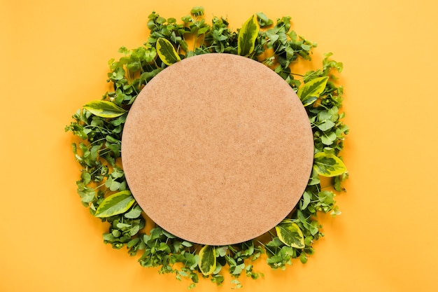 Flat lay of round paper on leaves Free Photo
