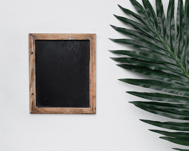 Flat lay of slate template with nature concept Free Photo