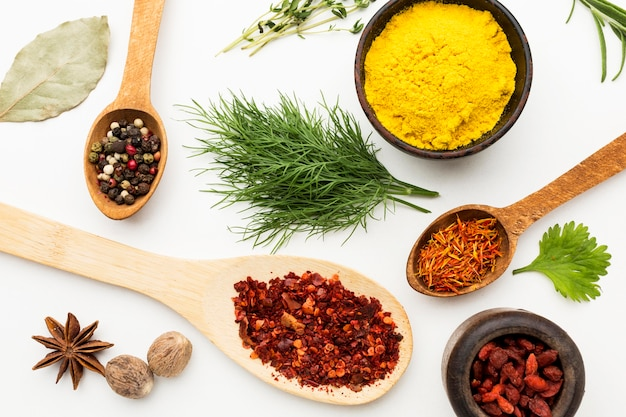 Flat lay spices and ingredients | Free Photo