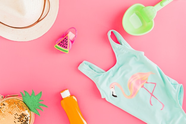 Flat lay of summer outfit and accessories Free Photo