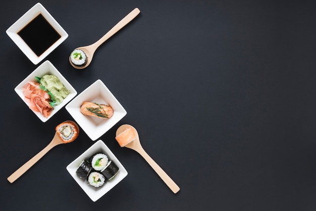 Flat lay sushi composition with copyspace Free Photo