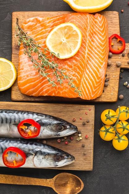 Плоская планировка вкусной рыбы Бесплатные Фотографии