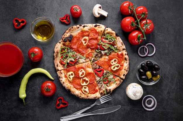 フラット横たわるおいしい食品組成物 Premium写真