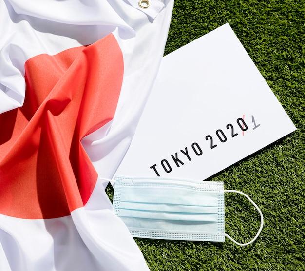 Flat lay tokyo 2020 спортивное мероприятие отложено состав Бесплатные Фотографии