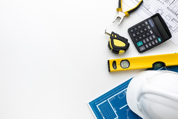 Flat lay tools with copy space Free Photo