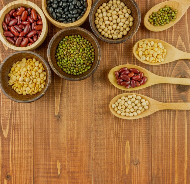 Flat lay,top view assorted beans including red bean Premium Photo