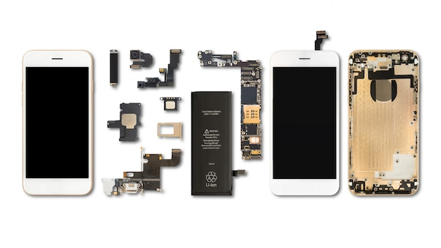 Flat lay (top view) of smartphone components isolate on white background with clipping path Premium Photo