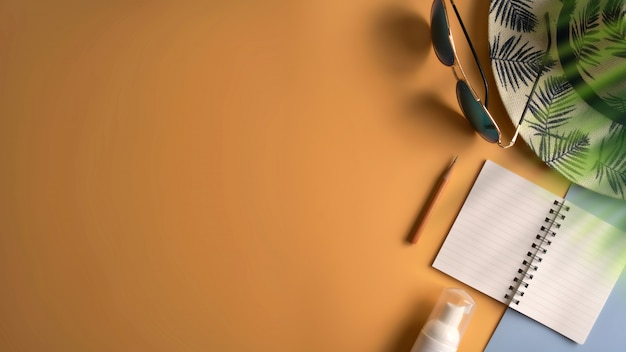 Flat lay, top view workspace in summer concept. Premium Photo