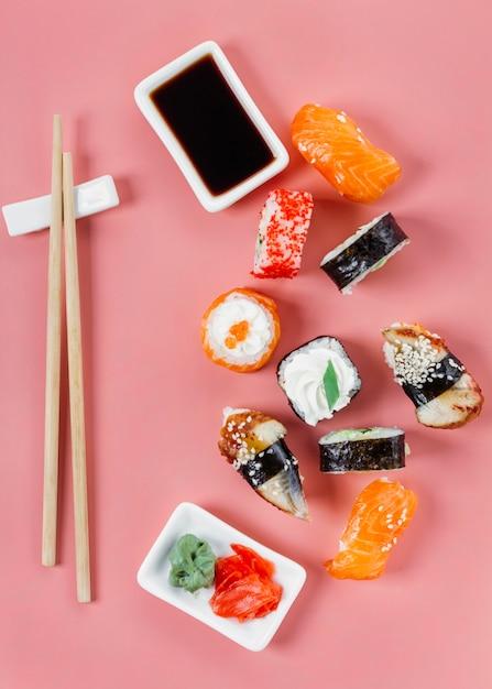 Плоские традиционные японские суши Бесплатные Фотографии