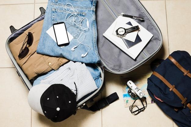 Flat lay travel luggage Free Photo