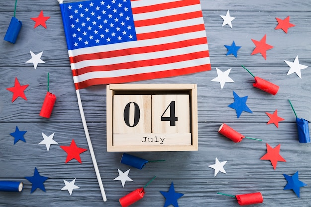 Flat lay of usa independence day decorations Free Photo