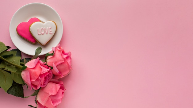 Flat lay of valentine's day with copy space Free Photo