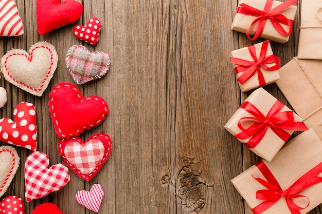 Flat lay of valentines day presents with ornaments Free Photo