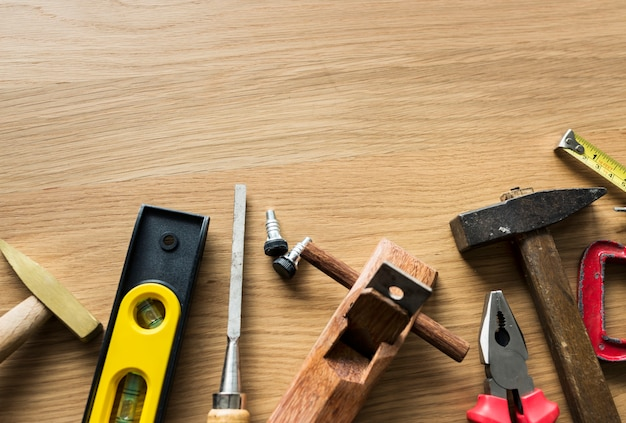 Flat lay of various technician tools isolated Free Photo