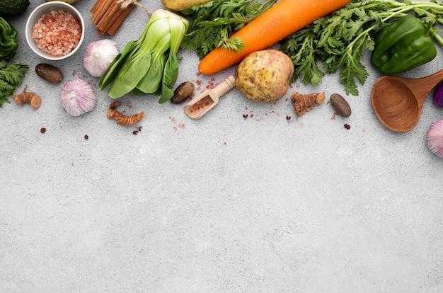 Flat lay veggies mix with copy-space Premium Photo